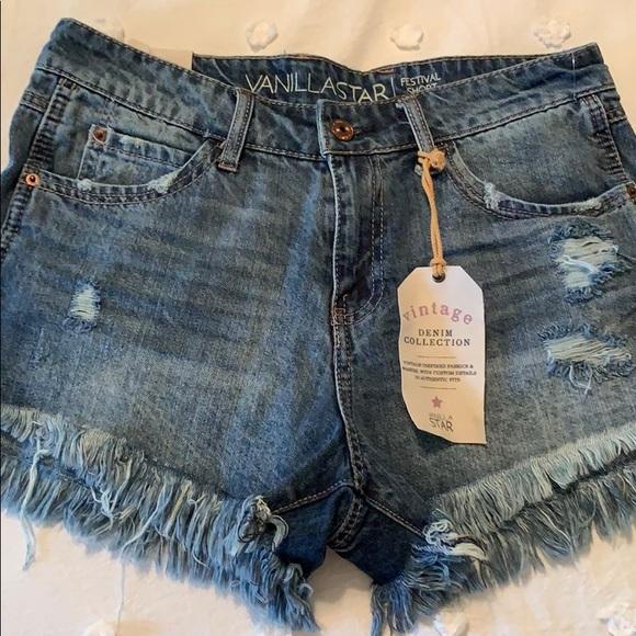 Vanilla Star Pants - denim frayed shorts
